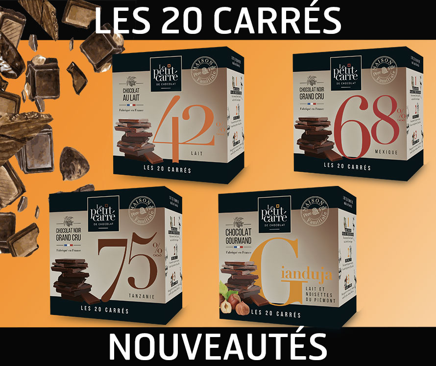le pack de 20 carrés de chocolat