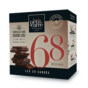 Boite 20 carrés de chocolat origine Mexique- Le petit carré de chocolat