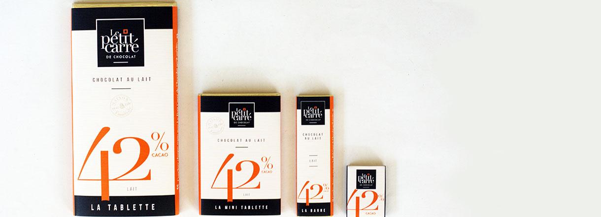 Gamme chocolat au lait 42% de cacao-Le petit carré de chocolat